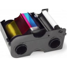 Fargo Ribbon - Full Color (YMCKO) EZ Cartridge with Cleaning Roller, 250 images per roll.