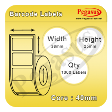 "Pegasus Eco Standard 1101D semi-Permanent Adhesive/45gsm,Uncoated DT,38mmX25mm,1.5""core,1000 Labels,12 Rolls / box,Straight Format,White"