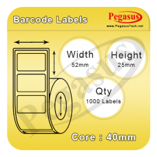 "Pegasus Eco Standard 1101D semi-Permanent Adhesive/45gsm,Uncoated DT,52mmX25mm,1.5""core,1000 Labels,12 Rolls / box,Straight Format,White"