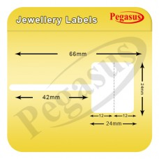 "Pegasus polypremium 4122T Jwellery Label,Gloss Polyester,66mmX24mm,1.5""core,1000 Labels,Roll,Straight format,White"
