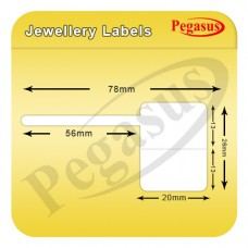 "Pegasus polypremium 4122T Jwellery Label,Gloss Polyester, 78mmX32mm,1.5""core,1000 Labels,Roll,Straight format,White"